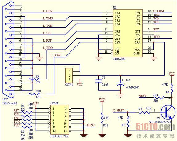 )图10-3 自制简易JTAG线缆原理图-10.2.3 简易JTAG线缆原理图