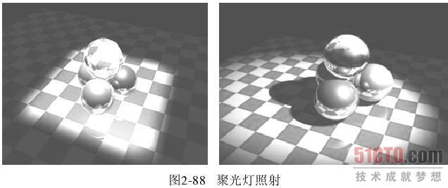 (3)设置灯光 基于3D游戏的现状,接近真实是一种常见选择。要达到这种真实效果通过模型的精确、细腻是远远不够的。如,动作冒险影片的照片和人站在街上的普通照片之间的视觉差异,两张照片看起来都具有真实性,但动作片已经经过小心剪辑,形成了一种强化、聚焦的现实。缩短的焦距、小心高速的光线和摄相机角度产生了比现实更真实的效果,这种真实对于能否产生心跳、手心出汗的效果至关重要。对于一帧静态的图片或是连续的动画来说,要体现出它的真实感与艺术性就必须精心地处理灯光效果。 在三维游戏场景中,灯光的作用不仅仅是将物体照亮,