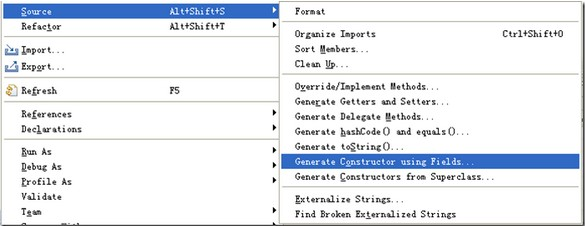 Generate Constructor using Fields