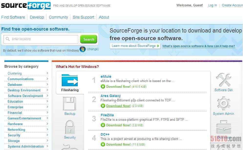 SourceForge.net首页截图