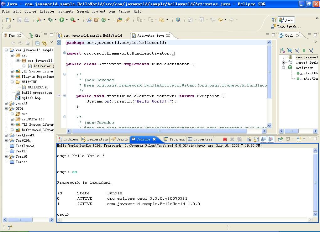OSGi控制台和HelloWorldActivator.java