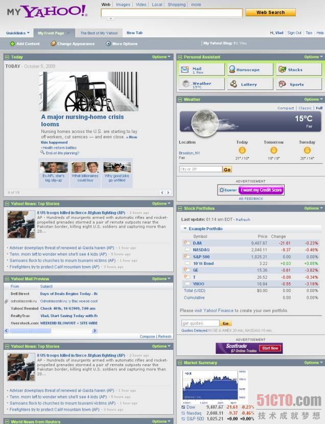 Yahoo门户:门户自定义让门户记住用户的参数设置