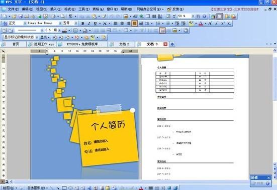 WPS Office 2009 免费模板库赏析