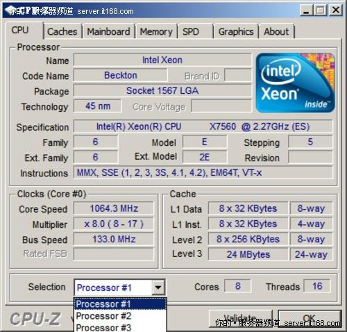 Intel Nehalem-EX官方平台:CPU-Z截图