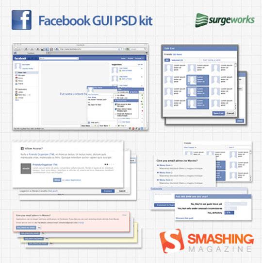 免费的全尺寸Facebook GUI PSD 套件