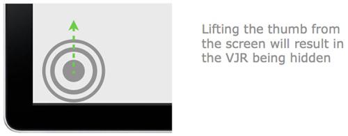 图:松开手指后VJR就会在屏幕隐藏起来