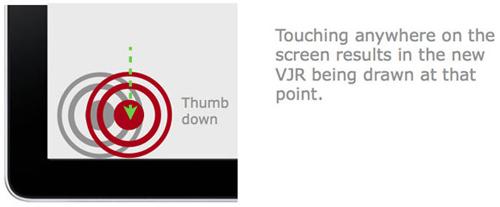 图:接触屏幕任意一点均可形成一个新的VJR