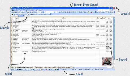 """在""""Excel电子表格""""中浏览Facebook"""
