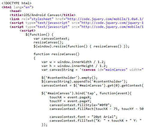 使用JQuery Mobile的HTML5画布元素,侦听iPad和Android浏览器上的触摸事件