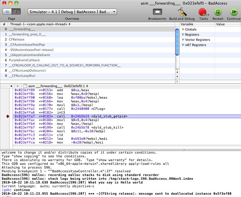 XCode调试技巧之EXC_BAD_ACCESS中BUG解决