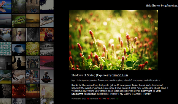 flickr browser HTML5 Powered Web Applications: 19 Early Adopters
