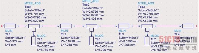 11.2.2 微带短截线低通滤波器原理图的仿真(3) 3.设计原理图 在微带短截线Filter_Stub1原理图上,根据图11.30搭建微带短截线低通滤波器原理图电路,搭建原理图的步骤如下。 (1)保留前面设置的微带线参数,删除原理图中的一个微带线MLIN,这时原理图中只有图11.33所示的微带线MSUB控件。 (2)在原理图的元器件面板列表上,选择微带线【TLines-Microstrip】,元器件面板上出现与微带线对应的元器件图标。在微带线元器件面板上,选择微带线MLIN,4次插入到原理图的画图区,将