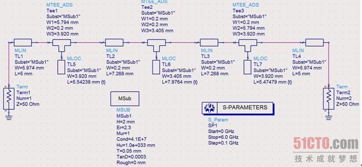 (4)选择版图工具栏上的端口Port,2次插入版图,输入端口设置为端口1,输出端口设置为端口2。 (5)下面设置微带线的基本参数。为了使版图的仿真结果有效,必须使版图中微带线的基本参数与原理图中微带线的基本参数一致,具体设置方法如下。 选择版图视窗中的【Momentum】菜单【Substrate】【Create/Modify】命令,打开【Create/Modify Substrate】窗口,在打开的设置窗口可以修改微带线的基本参数,如图11.