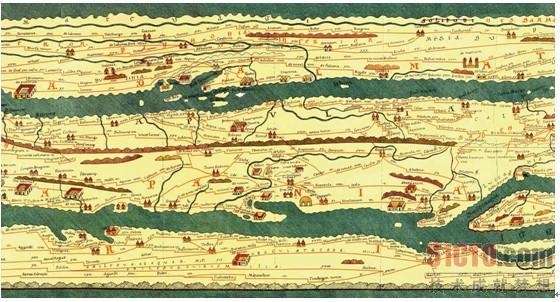 (点击查看大图)古代罗马地图(局部)图中的具象图标给阅读带来方便.