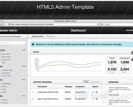 HTML5 Admin Template