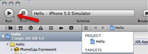 图7. Xcode Run按钮
