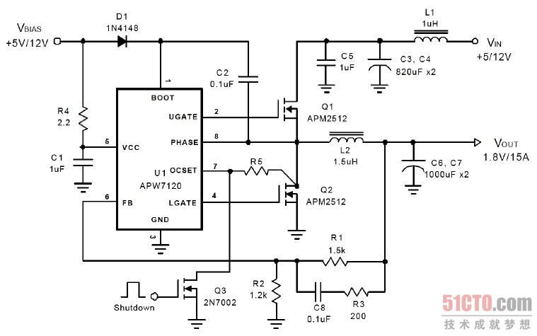 (1)当12V 输出后,一路经过R4 为APW7120 芯片的5 脚提供+12V 的工作电压;另一路经过D1 后与C2 组成一个升压电路,为芯片的1 脚内部高端门驱动器供电;最后一路经过L1 电感线圈为高端MOS 管的D 极供电。 (2)当APW7120 芯片得到+12V 供电后,内部的各个电路开始启动工作。当芯片内部的驱动器也工作后,会从2 脚和4 脚同时输出两路相反的脉宽调节信号。 (3)当2 脚输出高电平控制信号后,Q1 开始导通,输出1.