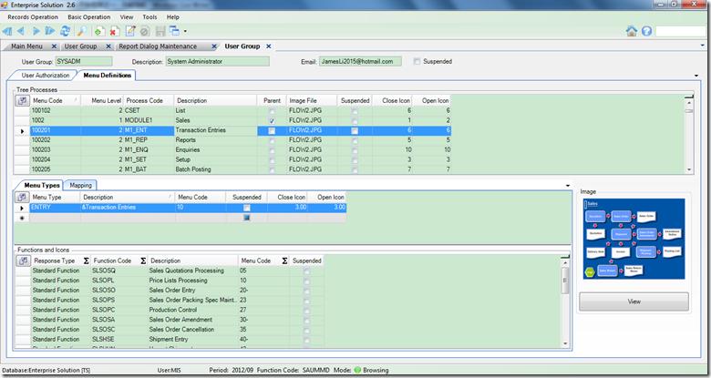 关于如何实现树节点的母子关系,有很多办法。一种办法是给树的每个节点加一个ParentId,用于指示它的上一级节点,这样每设计一个节点,均需要指出它的父节点,以用于呈现母子关系。另一种方法,以本例子中实现为例子,1002为Sales的树节点,它的子节点全部用1002XX来标识,如上图中所示,100201表示日记帐,100202表示报表,100203表示查询。前一种方法,请参考框架数据库中的表X_Menu,后一种请参考表UserGroupMenu。 导航的另一个目的,要实现中英文自动切换,以方便不同的用户习惯