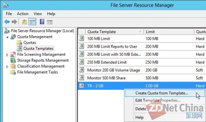 Windows Server 2012实用教程:创建配额模板
