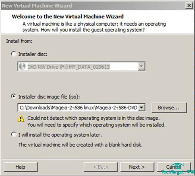 圖2. 在新虛擬機導游中,Vmware Player測驗檢測你想虛擬化的操作體系,可是無法辨認Magia 2