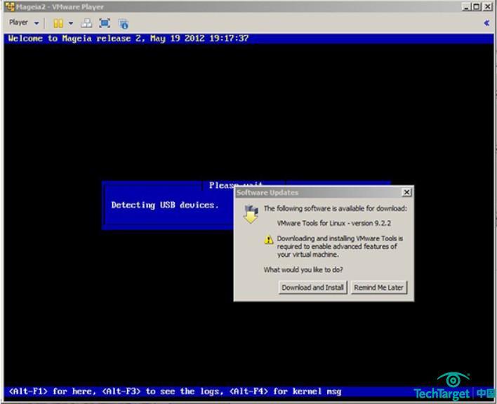 圖6.虛擬化Mageia 2時,Player彈出提示窗,主張裝置Vmware Tools