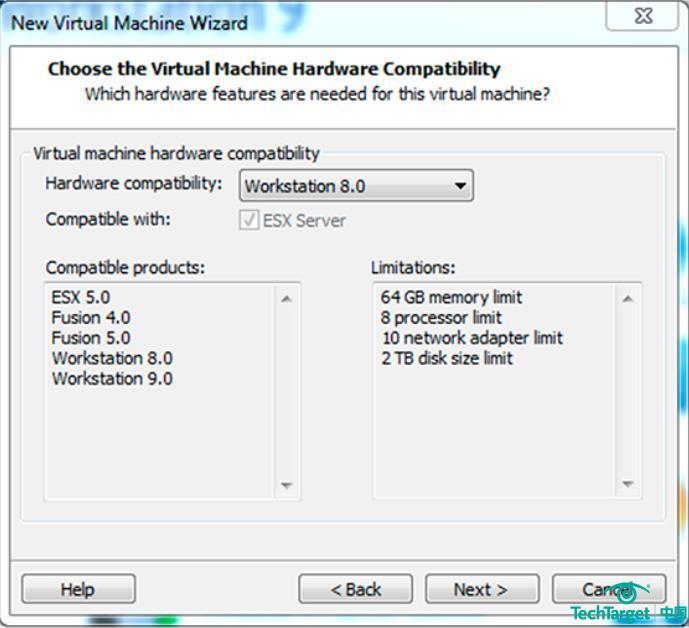 图1. 选择正确的Workstation版本,确保与ESX版本的兼容性